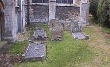 The setting of the grave, in the north-east corner of the graveyard