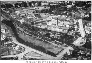 An aerial view of The Orchard Factory