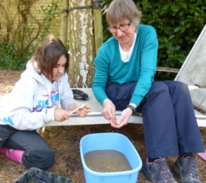 Washing finds in the Histon big dig
